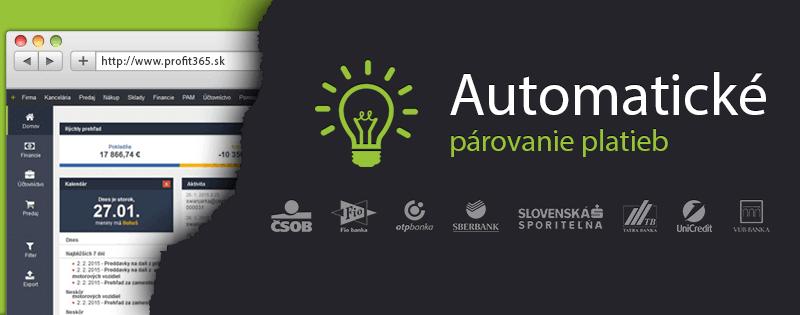 Profit365 má automatické párovanie platieb!